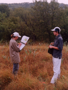 Univ. of Dallas students collecting field data for their environmental class