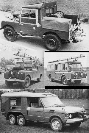 Various Land Rover fire engines