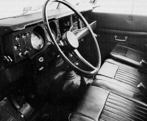 Cab interior of the Series 3: note instrument panel and door interior