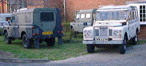 3 Land Rovers at the Gowler-Collins Residency